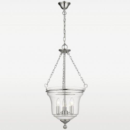 LAMPA wisząca EVO P03950CH szklana OPRAWA świecznikowy ZWIS na łańcuchu chrom przezroczysty, EVO P03950CH