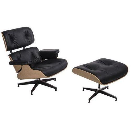 D2.design Fotel vip z podnóżkiem czarny/natural oak/standard base