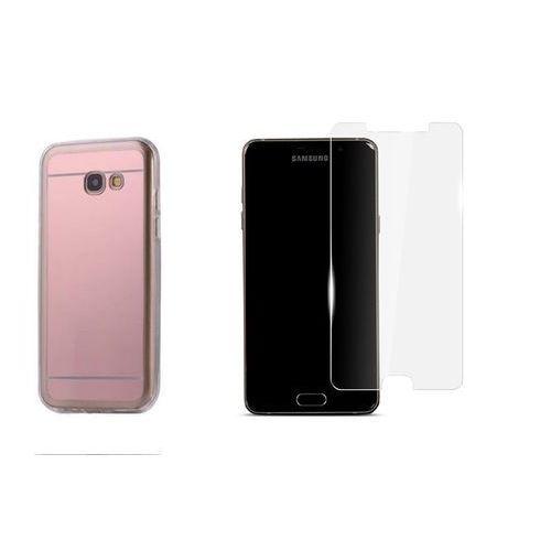 Zestaw   Slim Mirror Case Różowy   Etui + Szkło ochronne Perfect Glass dla modelu Samsung Galaxy A5 2017