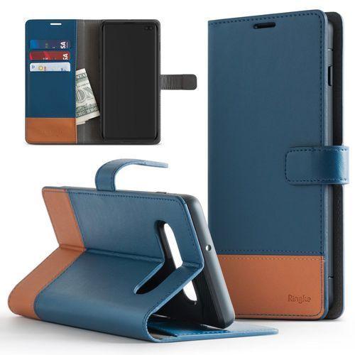 Ringke Wallet skórzany pokrowiec 2w1 portfel + etui na telefon Samsung Galaxy S10 Plus niebieski ((WLSG0014-RPKG)), 48403 (11702015)