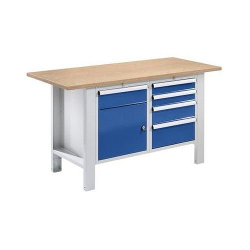 Stół warsztatowy, szer. blatu 1500 mm, 5 szuflad, 1 drzwi, płyta z multipleksu. marki Quipo