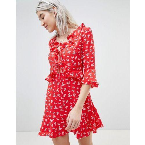Boohoo Ditsy Cut Out Skater Dress - Red, kolor czerwony