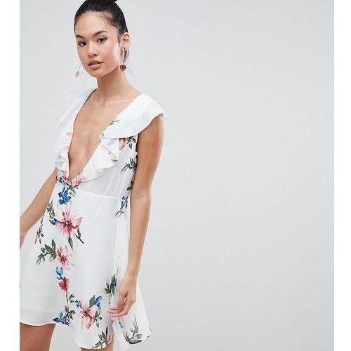 Boohoo Plunge Front Floral Mini Dress - White, kolor biały