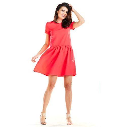 c0e772deac Fuksja letnia sukienka z marszczonym dołem marki Awama