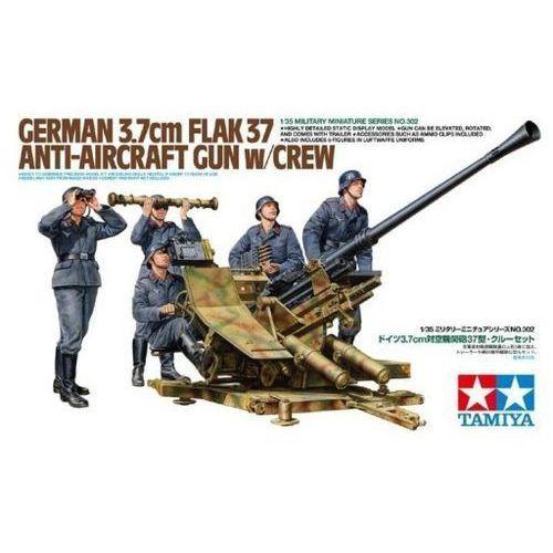 German 3.7cm flak 37 anti-aircraft gun w/crew marki Tamiya
