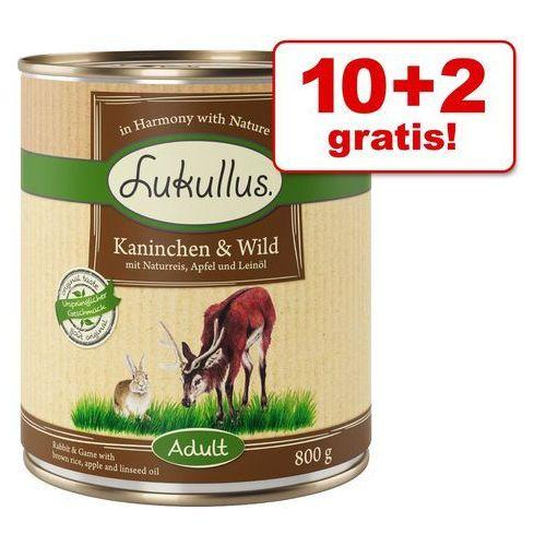 Lukullus 10 + 2 gratis! natural, 12 x 800 g - natural, serca z indyka i gęś (4260077048152)