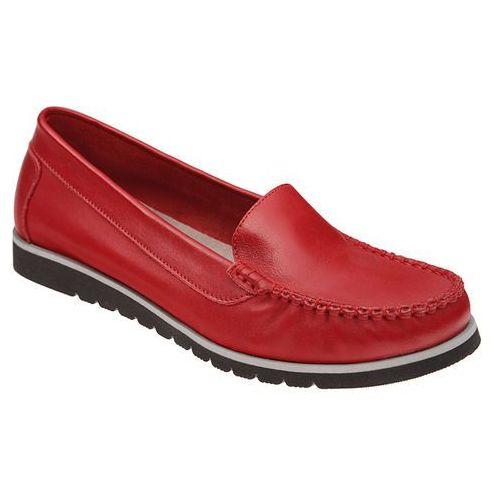 Mokasyny LEMAR 10050 Czerwone damskie wsuwane, kolor czerwony