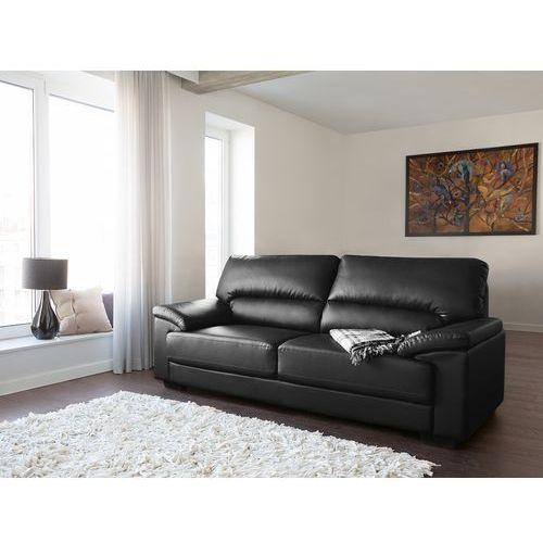 Sofa czarna - trzyosobowa - kanapa - skóra ekologiczna - VOGAR, kolor czarny