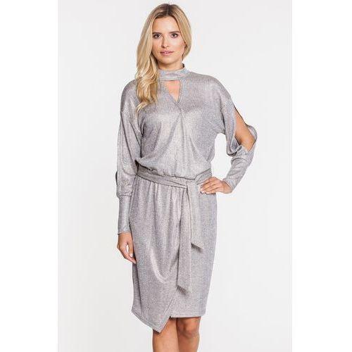 Srebrna sukienka z kopertowym dołem - Anataka
