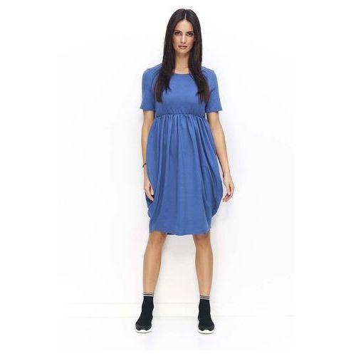 Jeansowa Sukienka Bombka z Krótkim Rękawem i Krótkim Rękawem, w 6 rozmiarach