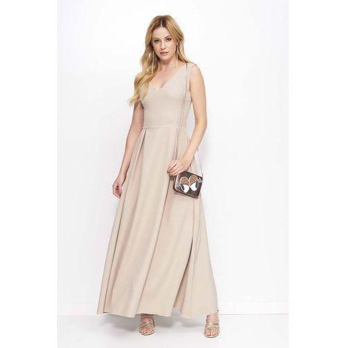 Beżowa Sukienka Długa Rozkloszowana na Szerokich Ramiączkach, w 4 rozmiarach