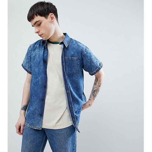 Reclaimed Vintage inspired denim acid wash shirt with short sleeves - Blue