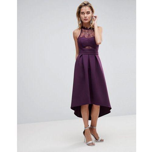 ASOS Halter Lace Top Dip Back Prom Dress - Purple