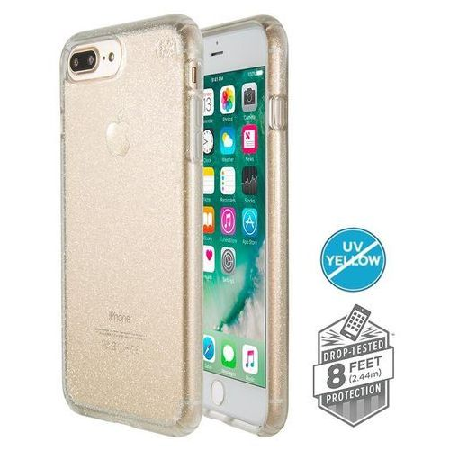 Speck  presidio clear with glitter - etui iphone 8 plus (gold glitter/clear)