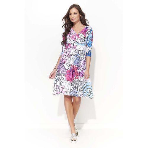 Wizytowa sukienka w kwiatowy wzór z kopertowym dekoltem - wzór 2 marki Makadamia
