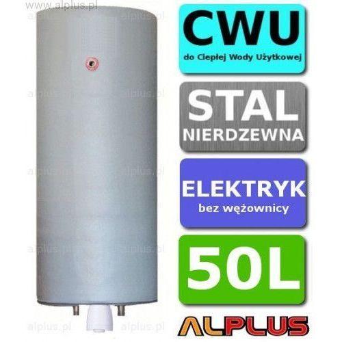 Bojler elektryczny nierdzewny pionowy wiszący 50L, z grzałką 2kW lub inną do wyboru, 50 litrów, bez wężownicy, ze stali nierdzewnej kwasoodpornej, Wysyłka gratis, C-ELEK-PION-WISZ-50-grzalka