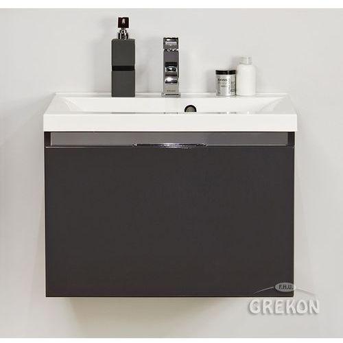 Szafka wisząca grafitowa z umywalką 60/48 seria Diamond S, kolor szary