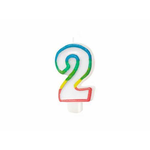 Pal Świeczka cyferka z kolorową obwódką cyfra 2 - 8,5 cm - 1 szt. (6426450263026)