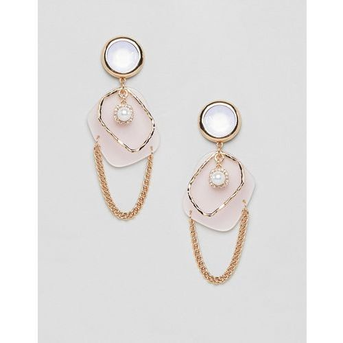 ASOS DESIGN earrings in abstract open shape design with pearl and resin in gold - Gold