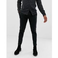 Burton menswear slim fit trousers with velvet side stripe in black - black