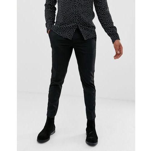 Burton Menswear slim fit trousers with velvet side stripe in black - Black