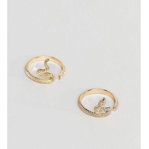Asos curve Asos design curve pack of 2 rings in split snake design in gold - gold