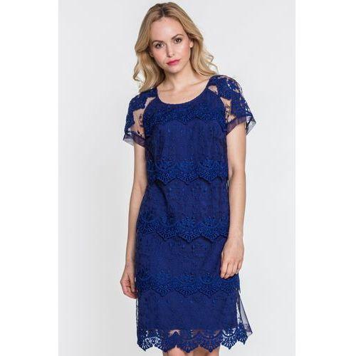 Koronkowa sukienka w kolorze granatu - Margo Collection, kolor niebieski