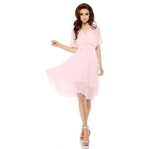 Różowa Elegancka Kopertowa Sukienka z Plisowanym Dołem, w 4 rozmiarach