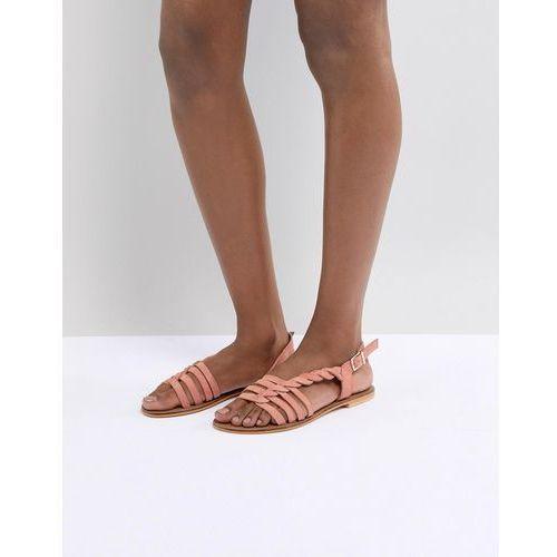 Asos design flattered leather plaited t-bar flat sandals - orange