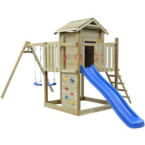 Vidaxl plac zabaw z drabiną, zjeżdżalnią i huśtawkami 557x280x271 cm