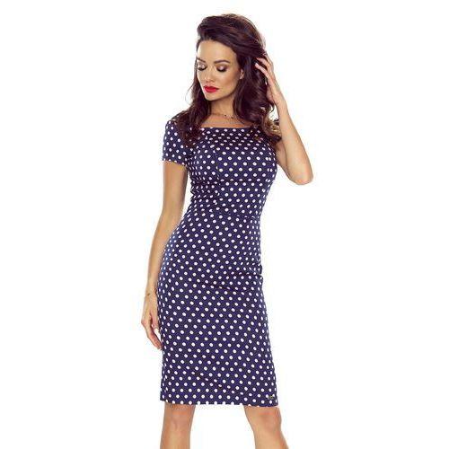 Ołówkowa sukienka w grochy z krótkim rękawem, kolor niebieski