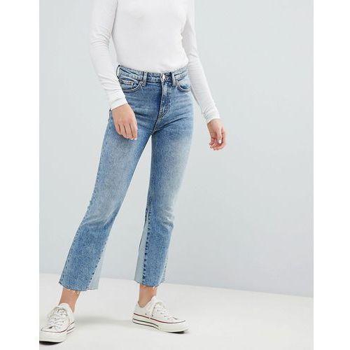 Weekday High Waist Crop Jeans With Hem Insert - Blue, kolor niebieski