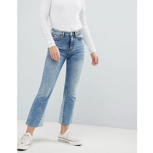 Weekday high waist crop jeans with hem insert - blue