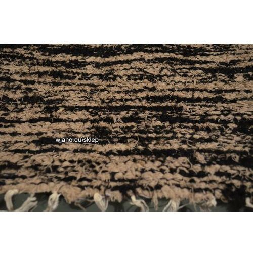 Chodnik bawełniany, ręcznie tkany, czarno-beżowy 80x100