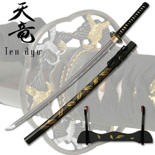 Płatnerze Wspaniały miecz samurajski, katana ręcznie kuta ze stojakiem liście (tr-011)