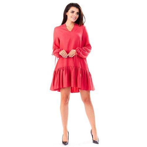 Różowa Sukienka z Dekoltem V z Falbanką na Dole, kolor różowy