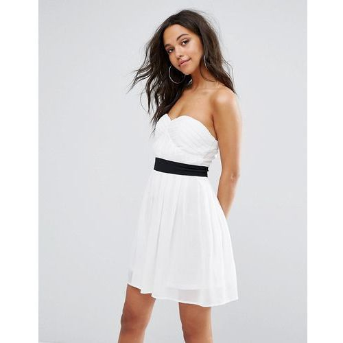 Boohoo Strapless Mini Skater Dress - White, kolor biały