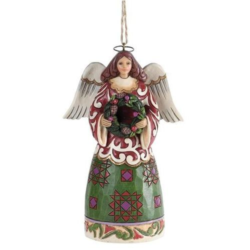 Jim shore Anioł z wieńcem,zawieszka (angel with wreath hanging ornament), 4034407 figurka ozdoba świąteczna