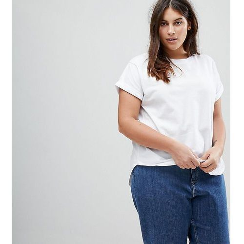 ASOS CURVE T-Shirt in Boyfriend Fit with Rolled Sleeve and Curved Hem - White, kolor biały