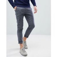 Selected Homme Slim Fit Trousers In Chambray Cotton - Navy, kolor szary
