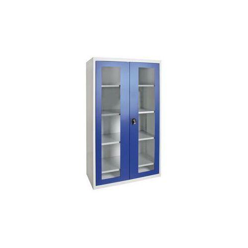 Szafka z drzwiami skrzydłowymi,z drzwiami z okienkiem, 4 półki