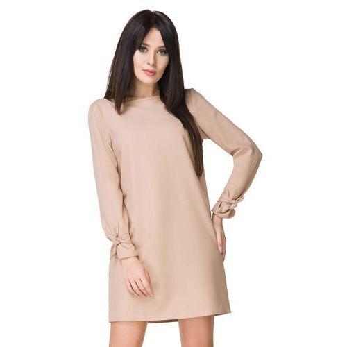 Beżowa Sukienka Wizytowa z Wiązaniami, w 6 rozmiarach