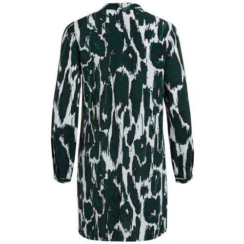 Prosta, krótka, wzorzysta sukienka, rękaw 3/4 marki Vila