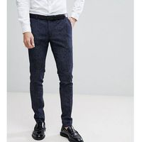 Heart & Dagger Super Skinny Suit Trousers In Printed Wool Mix - Navy, kolor szary