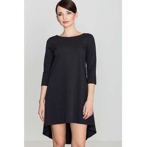 Czarna asymetryczna sukienka z plisami, Katrus, 36-42