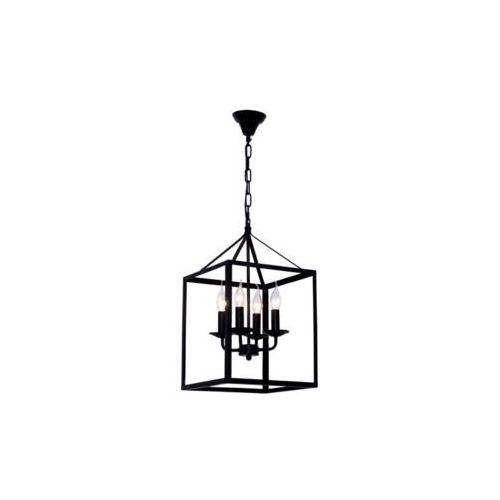 SPOT-LIGHT CAGE Zwis 4xE14, 60W, czarny/transparentny, metal/szkło, 300x300x1200 mm 9810404, 9810404
