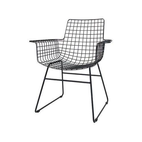 HK Living Krzesło metalowe WIRE czarne z podłokietnikami FUR0020, kolor czarny