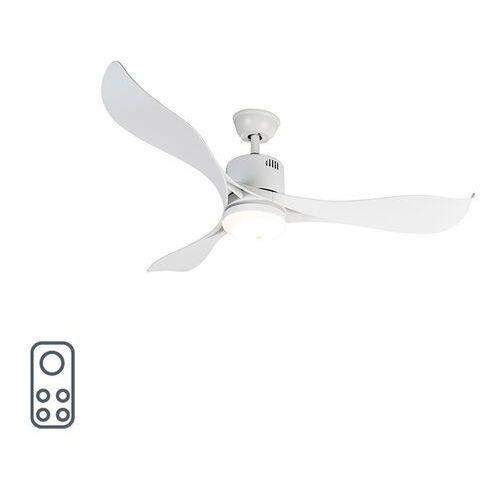 Qazqa Wentylator sufitowy biały z diodą led i pilotem - kolm
