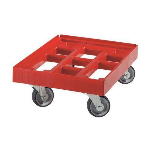 Wózek transportowy, dł. x szer. 610x410 mm, z HDPE, czerwone. Nieduży ciężar wła