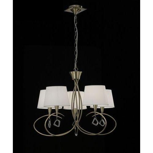 Lampa wisząca mara 5l antyczny mosiądz - kremowe klosze, 1621 marki Mantra
